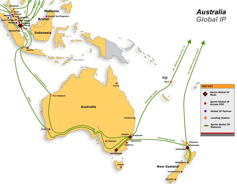 sprint international asia australia