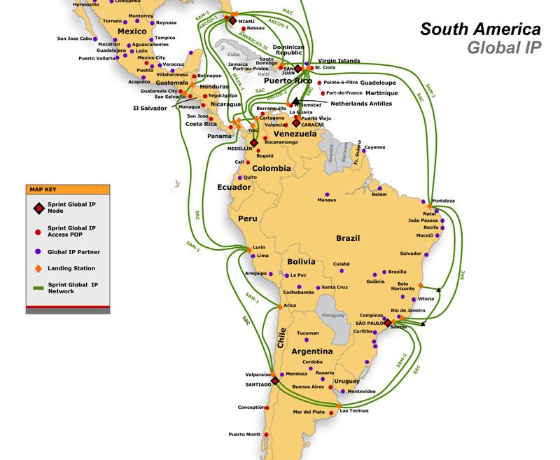 Network Maps Latin America Telecom Ramblings - Us fiber optic map
